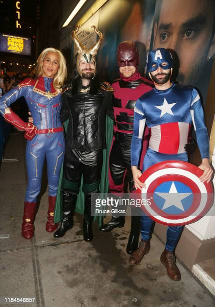 Zawe Ashton as Captain Marvel Charlie Cox as Loki Tom Hiddleston as Daredevil and Eddie Arnold as Captain America pose as the Broadway cast of...