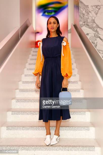 Zawe Ashton attends the Pat McGrath 'A Technicolour Odyssey' Campaign launch party at Brasserie of Light Selfridges on April 04 2019 in London England