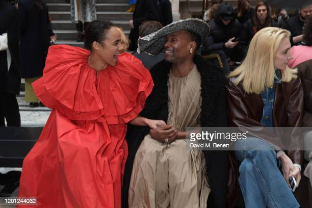 Zawe Ashton Billy Porter and Sabine Getty attend the Roksanda show during London Fashion Week February 2020 at The British Foreign and Commonwealth...