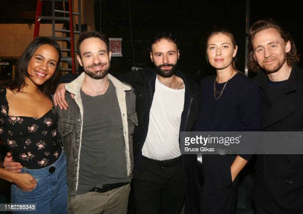 Zawe Ashton Charlie Cox Eddie Arnold Maria Sharapova and Tom Hiddleston pose backstage at the hit play Betrayal on Broadway at The Jacobs Theatre on...