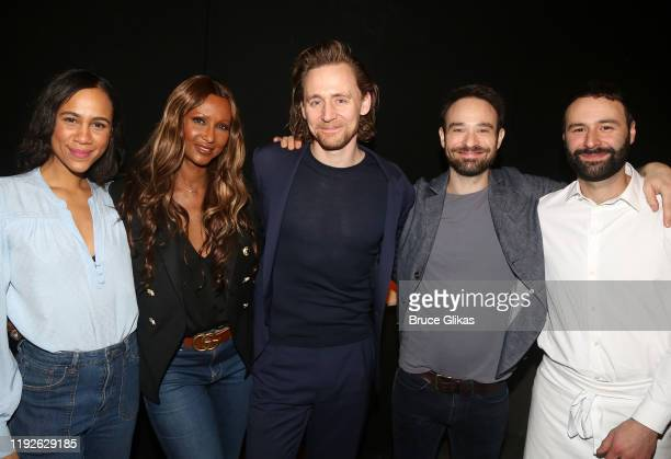 Zawe Ashton Iman Tom Hiddleston Charlie Cox and Eddie Arnold pose backstage at Betrayal on Broadway at The Jacobs Theatre on December 7 2019 in New...