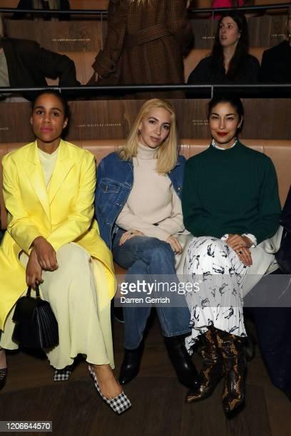 Zawe Ashton Sabine Getty and Caroline Issa attend the Emilia Wickstead show during London Fashion Week February 2020 on February 16 2020 in London...
