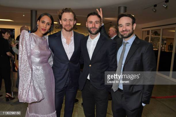 Zawe Ashton Tom Hiddleston Eddie Arnold and Charlie Cox attend the press night after party for Betrayal at The Cafe In The Crypt St MartinintheFields...