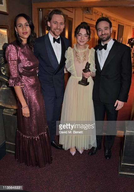 Zawe Ashton Tom Hiddleston Patsy Ferran winner of the Best Actress award for Summer And Smokeand Charlie Cox attend The Olivier Awards 2019 with...