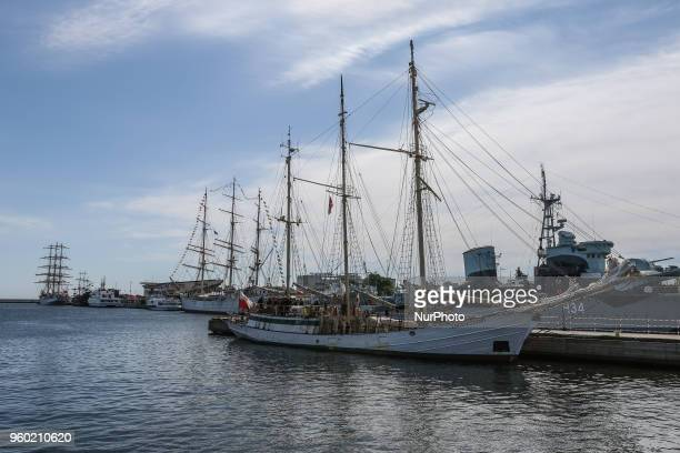 SY Zawisza Czarny sail training ship is seen in Gdynia Poland on 19 May 2018 Dar Mlodziezy first Polishbuilt oceangoing sailing vessel which...