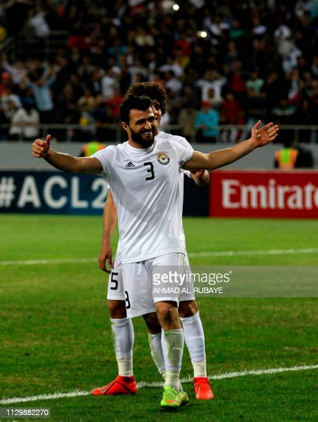 Zawraa's defender Hussein Jwayed celebrates his goal during the AFC champions league Group A football match between Iraq's Al Zawraa and UAE's Al...