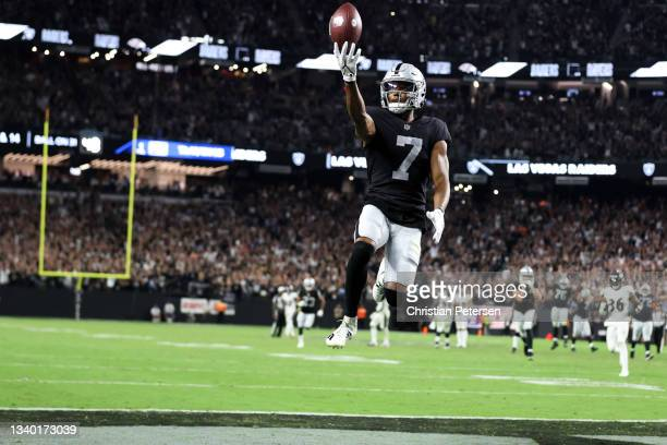Zay Jones of the Las Vegas Raiders celebrates after scoring the game winning touchdown in overtime to defeat the Baltimore Ravens 33-27 at Allegiant...