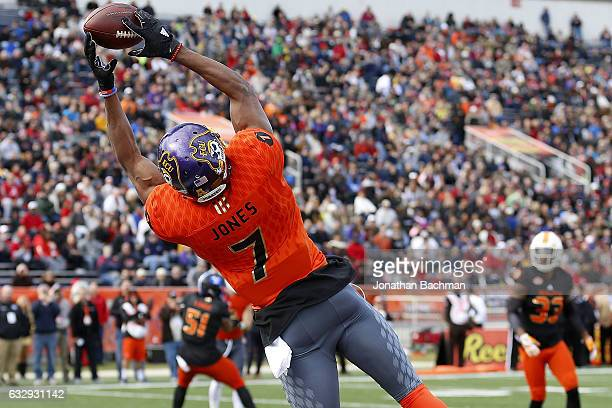 Zay Jones of the North team attempts to catch the ball during the first half of the Reese's Senior Bowl against the South team at the LaddPeebles...