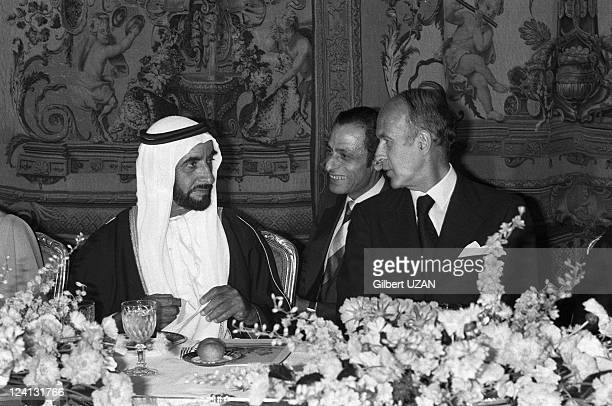 Zayad travel in Paris France on March 07 1975 Sheikh Zayed bin Sultan alNahyan Valery Giscard d'Estaing during the official dinner given at the...