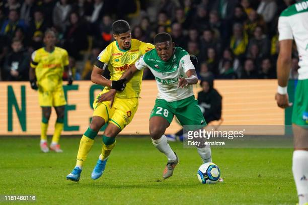 Zaydou YOUSSOUF of Saint Etienne and Ludovic BLAS of Nantes during the Ligue 1 match between Nantes and Saint Etienne at Stade de la Beaujoire on...