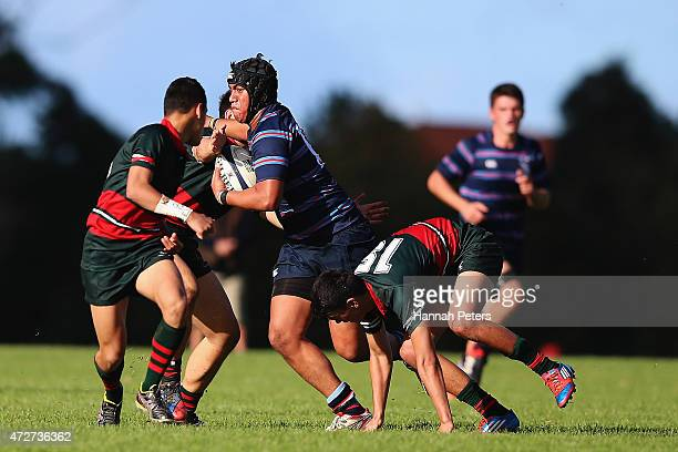 Zaylin Inu of Sacred Heart charges forward during the Schoolboy Rugby match between Sacred Heart and Dilworth at Sacred Heart College on May 9 2015...