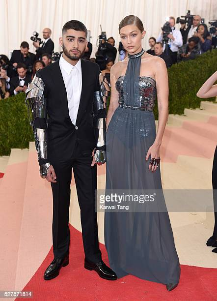 Zayn Malik and Gigi Hadid arrive for the 'Manus x Machina Fashion In An Age Of Technology' Costume Institute Gala at Metropolitan Museum of Art on...