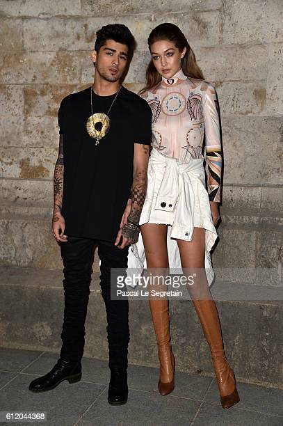 Zayn Malik and Gigi Hadid attend the Givenchy show as part of the Paris Fashion Week Womenswear Spring/Summer 2017 on October 2, 2016 in Paris,...