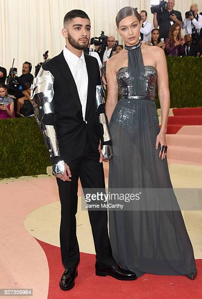 Zayn Malik and Gigi Hadid attend the Manus x Machina Fashion In An Age Of Technology Costume Institute Gala at Metropolitan Museum of Art on May 2...