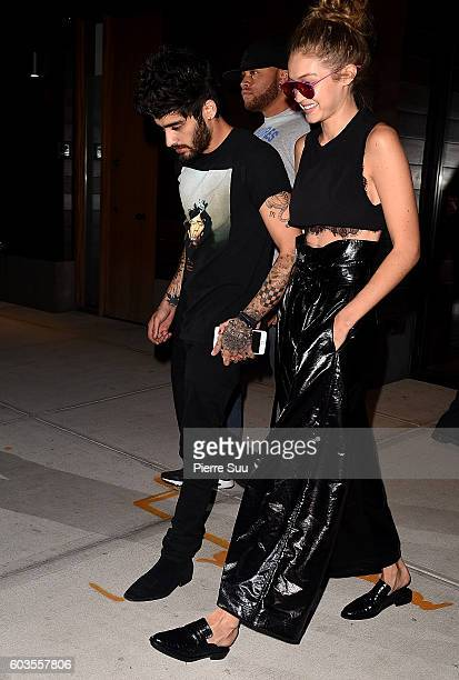 Zayn Malik and Gigi Hadid leave Gigi's home to spent the evening with Taylor Swift on September 12 2016 in New York City