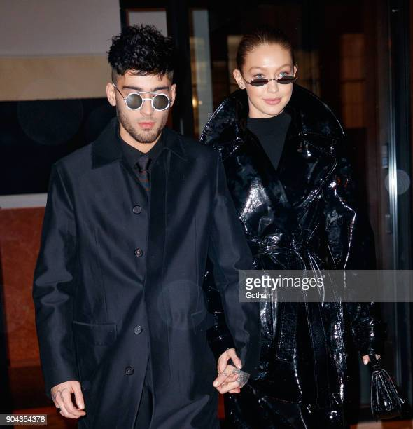 Zayn Malik and Gigi Hadid seen on January 12, 2018 in New York City.