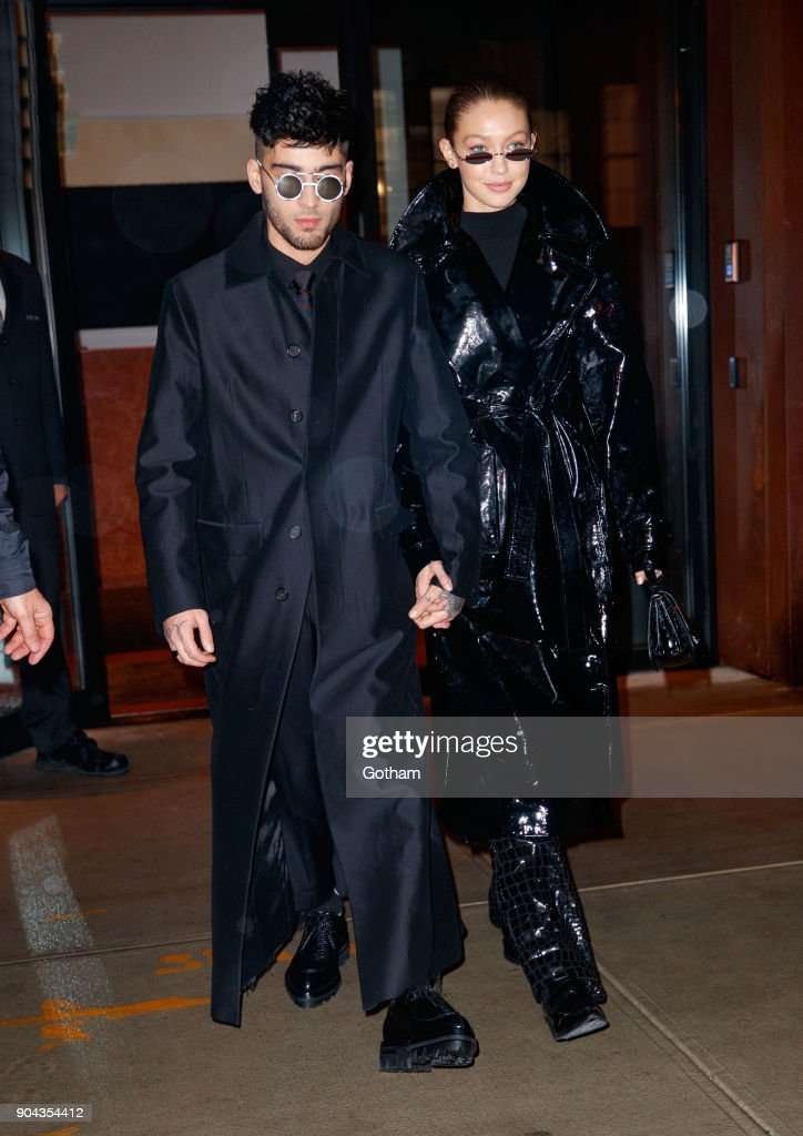 Zayn Malik and Gigi Hadid seen on January 12, 2018 in New York City.