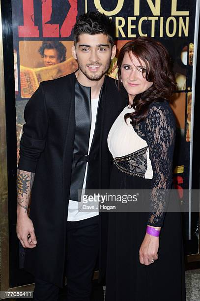 Zayn Malik and his mother attend the world premiere of 'One Direction This Is Us' at The Empire Leicester Square on August 20 2013 in London England