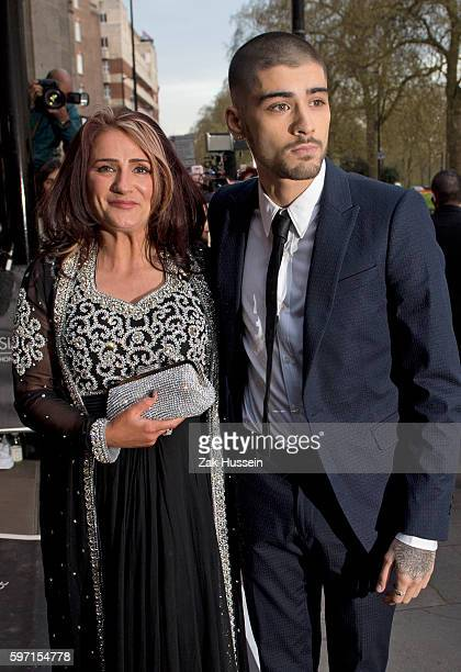 Zayn Malik and mother Trisha Malik arriving at the 2015 Asian Awards at the Grosvenor House Hotel in London