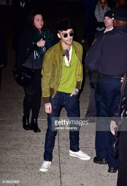 Zayn Malik arrives to the Tom Ford Women's Fall/Winter 2018 fashion show during New York Fashion Week at Park Avenue Armory on February 8 2018 in New...