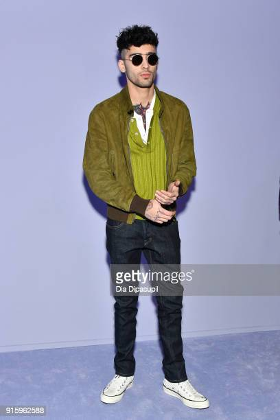 Zayn Malik attends the Tom Ford Women's Fall/Winter 2018 fashion show during New York Fashion Week at Park Avenue Armory on February 8 2018 in New...