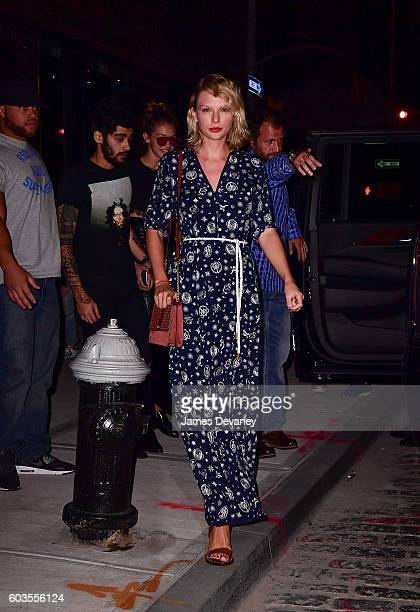 Zayn Malik Gigi Hadid and Taylor Swift leave Gigi Hadid's apartment on September 12 2016 in New York City