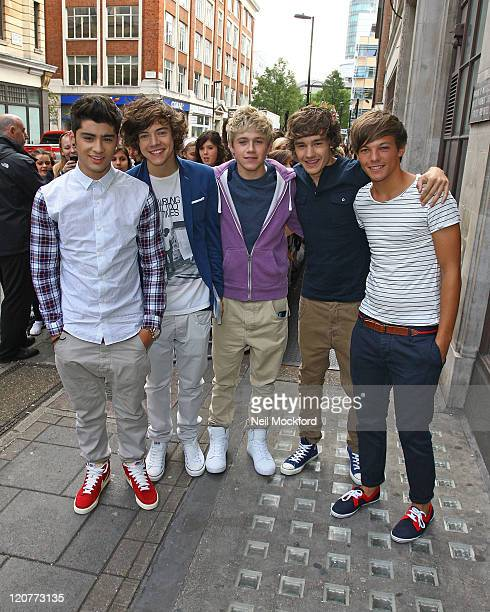 Zayn Malik Harry Styles Niall Horan Liam Payne and Louis Tomlinson from 'One Direction' seen at BBC Radio One on August 10 2011 in London England