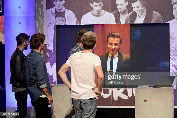 Zayn Malik Louis Tomlinson and Niall Horan on set during One Direction celebrates 1D Day at YouTube Space LA a 7hour livestream event broadcast...