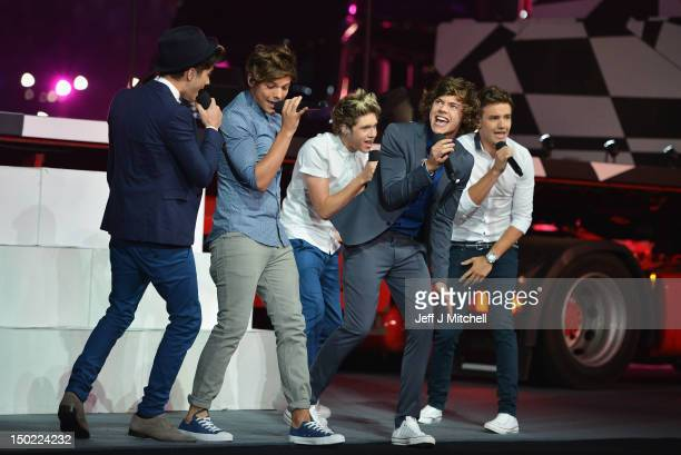 Zayn Malik Louis Tomlinson Niall Horan Harry Styles and Liam Payne of One Direction performs during the Closing Ceremony on Day 16 of the London 2012...
