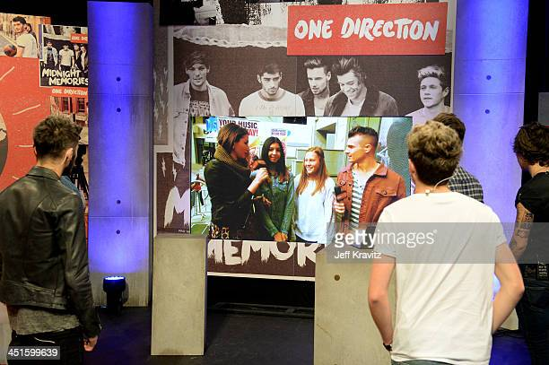 Zayn Malik Niall Horan and Harry Styles on set during One Direction celebrates 1D Day at YouTube Space LA a 7hour livestream event broadcast...