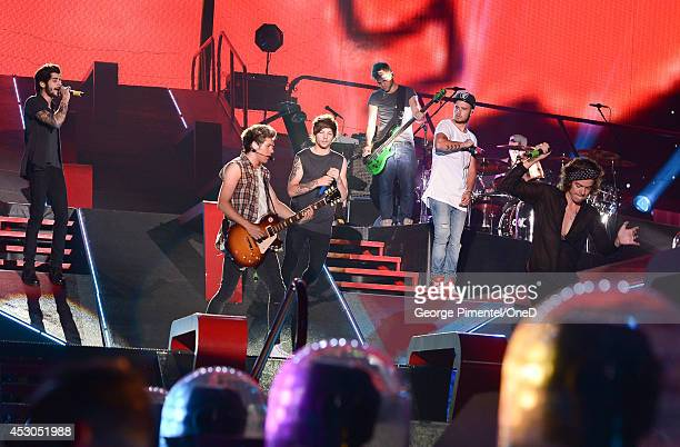 Zayn Malik Niall Horan Louis Tomlinson Liam Payne and Harry Styles of One Direction perform in Concert for the Where We Are 2014 Tour at Rogers...