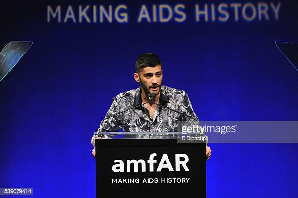 Zayn Malik speaks onstage during the 7th Annual amfAR Inspiration Gala at Skylight at Moynihan Station on June 9 2016 in New York City