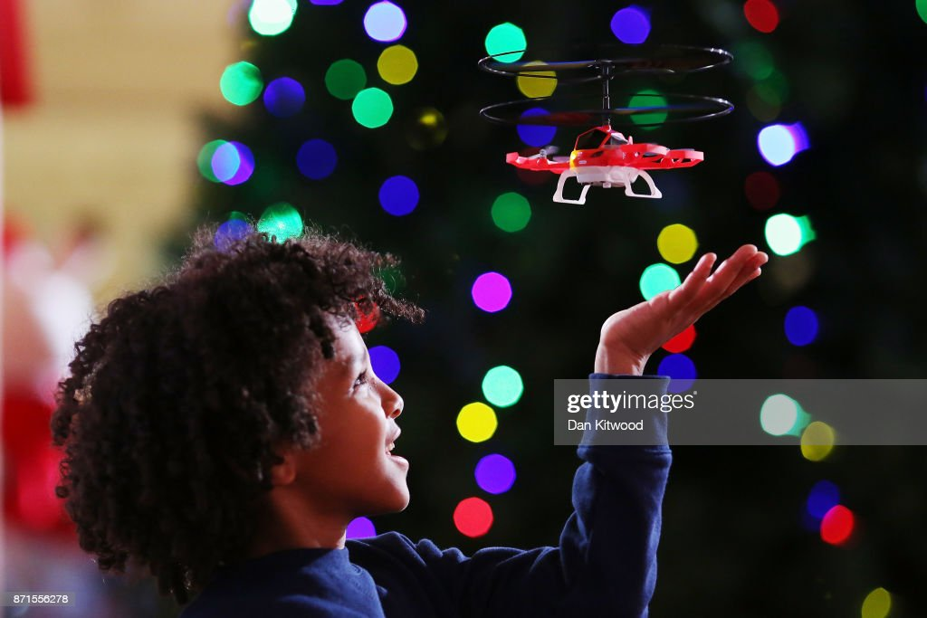 Zayne, 7, plays with a 'My First Drone' at a media event announcing the top 12 toys for christmas at St Mary's Church in Marylebone on November 8, 2017 in London, England. The Toy Retailers Association's Dream Toys chart, is an independent list of the predicted Christmas best-selling gifts for children.