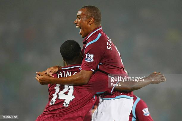 Zayon Albert Hines and Felix Stanislas of West Ham United celebrate scoring the second goal during the Barclays Asia Trophy preseason friendly match...