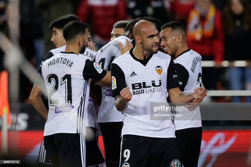 Zaza of Valencia CF celebrates 1-0 during the Spanish Primera Division match between Valencia v Celta de Vigo at the Estadio de Mestalla on December 9, 2017 in Valencia Spain
