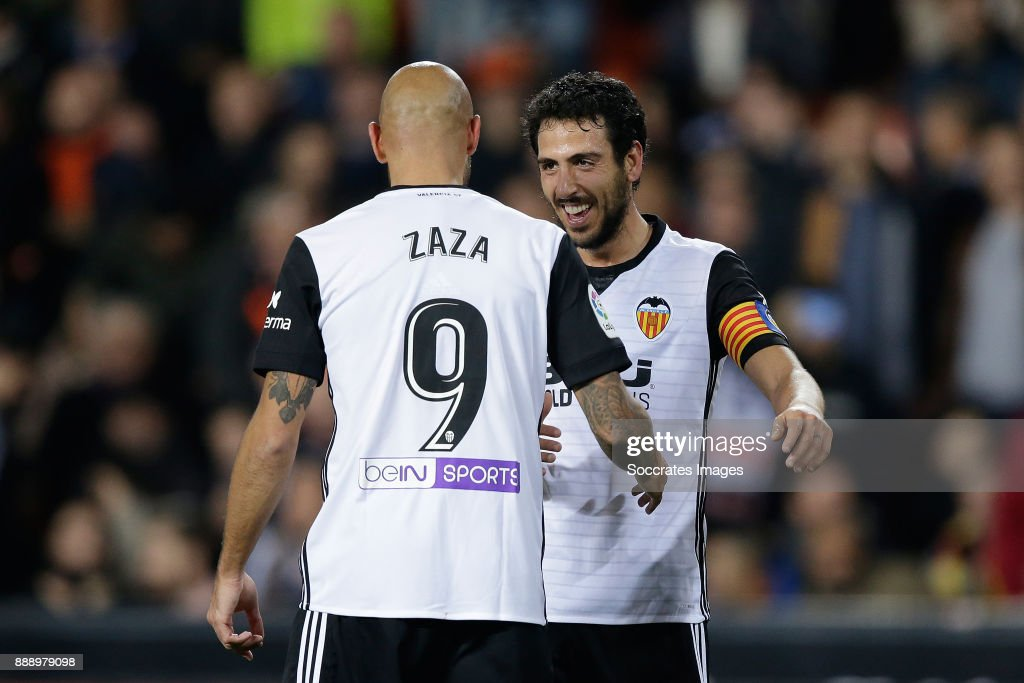 Zaza of Valencia CF celebrates 1-0 with Parejo of Valencia CF during the Spanish Primera Division match between Valencia v Celta de Vigo at the Estadio de Mestalla on December 9, 2017 in Valencia Spain