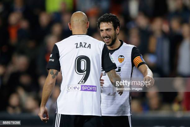 Zaza of Valencia CF celebrates 10 with Parejo of Valencia CF during the Spanish Primera Division match between Valencia v Celta de Vigo at the...
