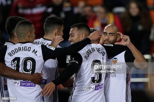 Zaza of Valencia CF celebrates 10 with Rodrigo of Valencia CF Vezo of Valencia CF during the Spanish Primera Division match between Valencia v Celta...
