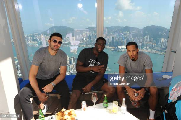 Zaza Pachulia Draymond Green and Shaun Livingston of the Golden State Warriors takes in some sights around Hong Kong as part of the 2017 Global Games...