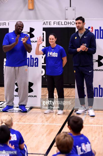 Zaza Pachulia of the Golden State Warriors along with NBA Legend Adonal Foyle and WNBA Legend Jennifer Azzi participate in a Jr NBA clinic and Parent...