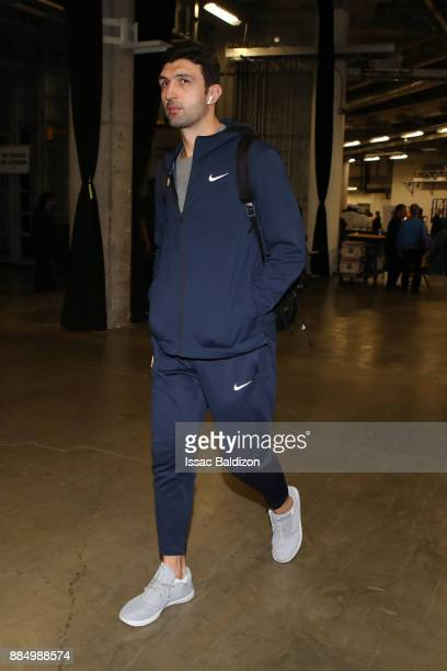 Zaza Pachulia of the Golden State Warriors arrives at the arena prior to the game against the Miami Heat on December 3 2017 in Miami Florida NOTE TO...