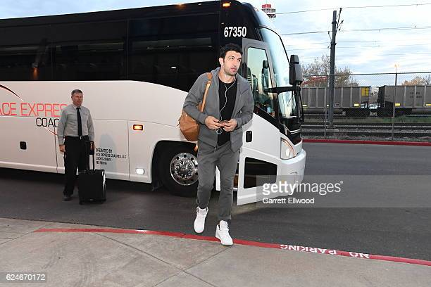 Zaza Pachulia of the Golden State Warriors arrives at the arena before the game against the Denver Nuggets on November 10 2016 at the Pepsi Center in...