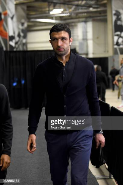 Zaza Pachulia of the Golden State Warriors arrives at the arena before the game against the San Antonio Spurs in Game Three of Round One of the 2018...