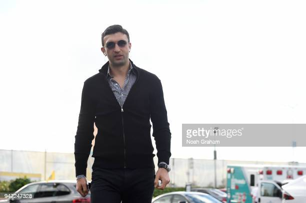Zaza Pachulia of the Golden State Warriors arrives before the game against the San Antonio Spurs in Game Two of Round One of the 2018 NBA Playoffs on...