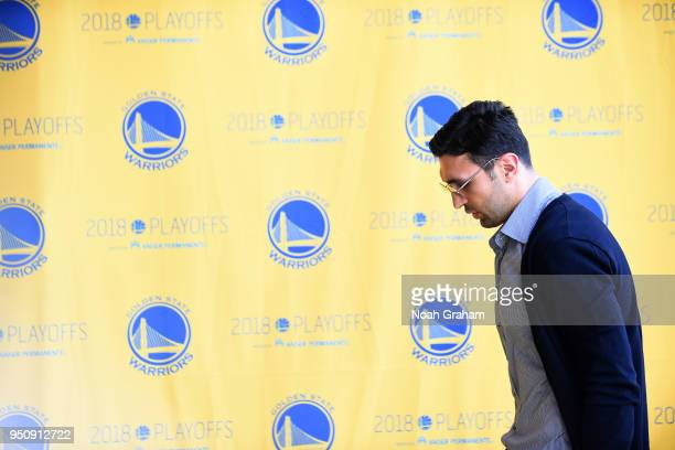Zaza Pachulia of the Golden State Warriors arrives to the arena prior to Game Five of Round One of the 2018 NBA Playoffs against the San Antonio...
