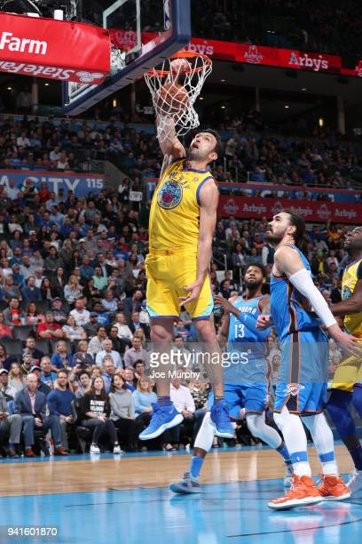 Zaza Pachulia of the Golden State Warriors drives to the basket during the game against the Oklahoma City Thunder on April 3 2018 at Chesapeake...