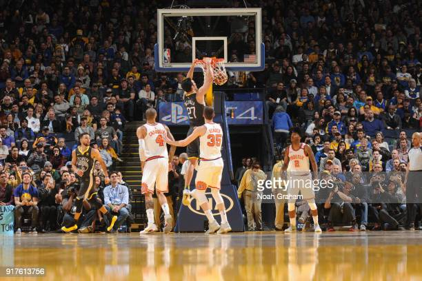 Zaza Pachulia of the Golden State Warriors dunks against the Phoenix Suns on February 12 2018 at ORACLE Arena in Oakland California NOTE TO USER User...