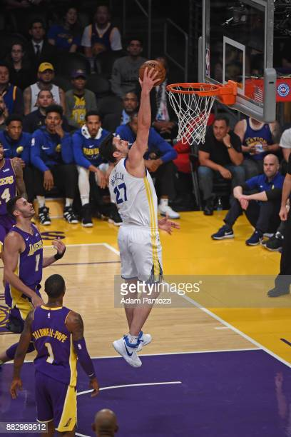 Zaza Pachulia of the Golden State Warriors dunks the ball against the Los Angeles Lakers on November 29 2017 at STAPLES Center in Los Angeles...