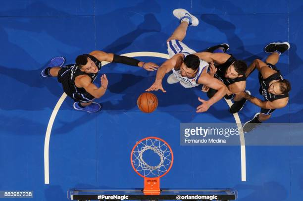 Zaza Pachulia of the Golden State Warriors dunks the ball against the Orlando Magic on December 1 2017 at Amway Center in Orlando Florida NOTE TO...