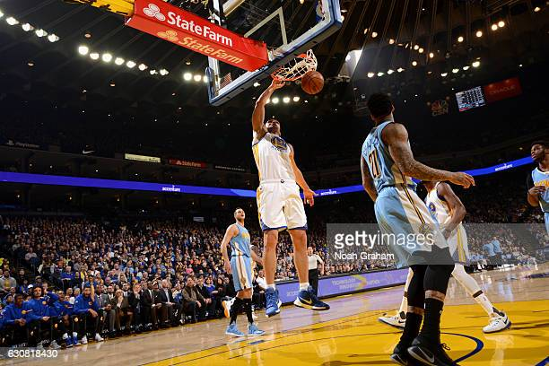 Zaza Pachulia of the Golden State Warriors dunks the ball Denver Nuggets on January 2 2017 at ORACLE Arena in Oakland California NOTE TO USER User...